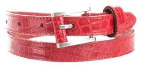 Oscar de la Renta Alligator Skinny Belt