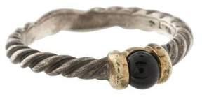 David Yurman Two Tone Onyx Cable Ring