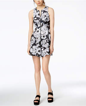 Bar III Printed Zip-Front Dress, Created for Macy's
