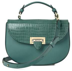 Aspinal of London Letterbox Saddle Bag In Deep Shine Sage Small Croc Smooth Sage