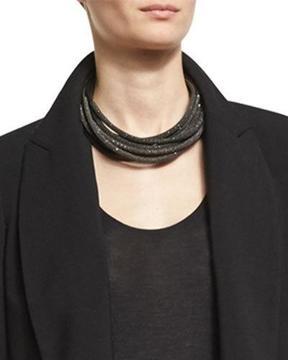 Brunello Cucinelli Monili & Metallic Leather Coil Necklace