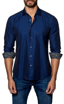 Jared Lang Men's Trim Fit Solid Sport Shirt