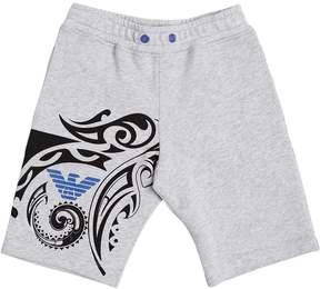 Armani Junior Tattoo Printed Cotton Sweat Shorts