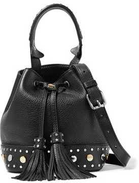 Sandro Alane Studded Textured-Leather Bucket Bag