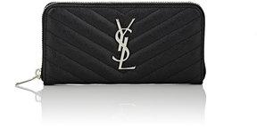Saint Laurent Women's Monogram Zip-Around Wallet - BLACK - STYLE