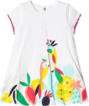 Catimini White Tropical Print Bubble Hem Dress