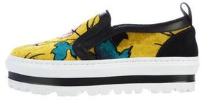 MSGM Velvet Platform Slip-On Sneakers