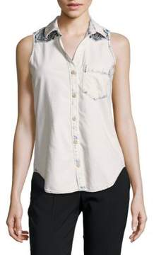 Driftwood Embroidered-Yoke Cotton Shirt