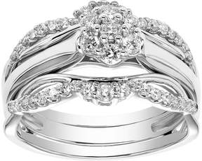 Vera Wang Simply Vera 10k White Gold 1/2 Carat T.W. Diamond Flower Engagement Ring Set