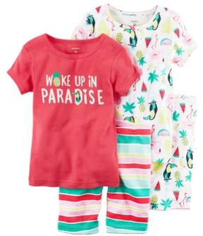 Carter's Baby Clothing Outfit Girls 4-Piece Snug Fit Cotton PJs Woke up in Paradise Pink