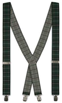Topman Mens Multi Suspenders in Black and Green Blackwatch Check Detailing
