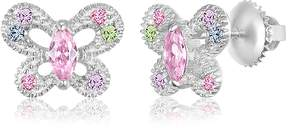 Swarovski Chanteur Jewelry White Gold Plated Sterling Silver Crystal Accented Butterfly Stud Earrings