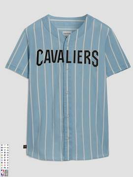 Frank and Oak Cleveland Cavaliers Summer-Denim Short-Sleeve Shirt in Striped Indigo