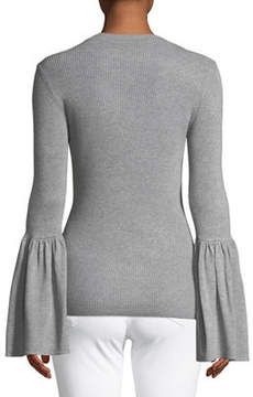 Carmen Marc Valvo Carmen By Ribbed Flare-Sleeve Pullover Sweater