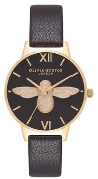 Olivia Burton Women's Animal Motif Leather Strap Watch, 30Mm