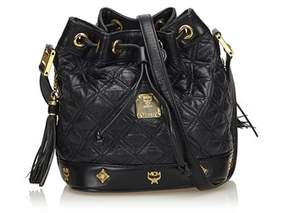 MCM Pre-owned: Leather Drawstring Bucket Bag.