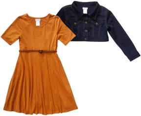 Youngland Knit Jacket & Suede Skater Dress Set
