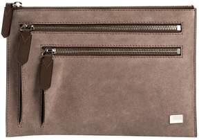 Lancel Grey Suede Clutch Bag