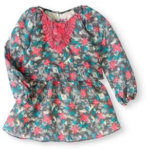 Nannette Little Girls' 4-6X Embroidered Butterfly Chiffon Long Sleeve Dress