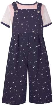 Bonnie Jean Girls 7-16 Star Print Overalls & Mesh Short Sleeve Tee Set