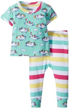 Hatley Roly Poly Unicorns Short Sleeve Pajama Set Girl's Pajama Sets