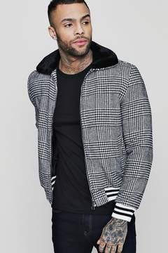 boohoo Faux Fur Check Harrington With Sports Rib