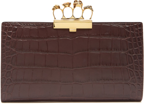 ALEXANDER MCQUEEN Crocodile-effect leather knuckle clutch