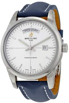 Breitling Transocean Day & Date Automatic Silver Dial Blue Leather Men's Watch
