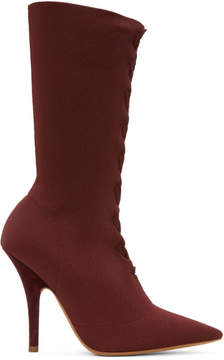 Yeezy Burgundy Knit Sock Boots