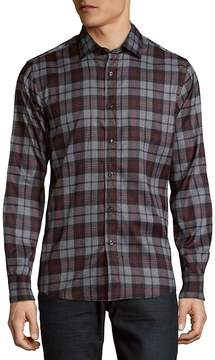 Saks Fifth Avenue BLACK Men's Plaid Microfiber Button Down Shirt