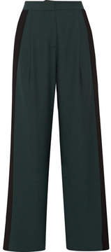 Dion Lee Striped Stretch-crepe Wide-leg Pants - Forest green