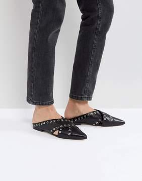 Sol Sana Cross Black Eyelet Flat Shoes