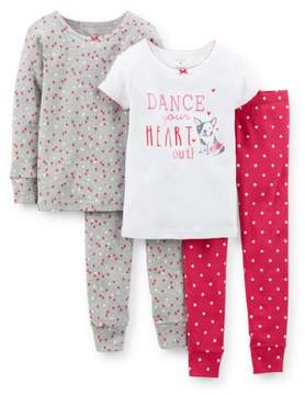 Carter's Baby Clothing Outfit Girls 4-Piece Snug-Fit Cotton PJs - Dance Pink