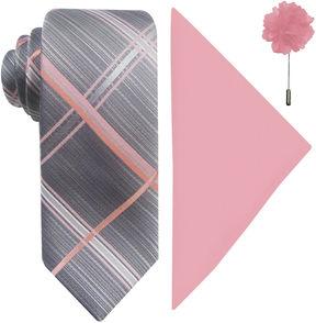 Jf J.Ferrar JF Plaid Pastel Tie, Pocket Square and Lapel Pin Set