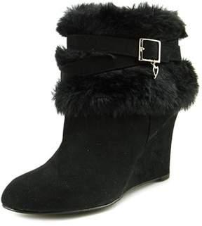 Thalia Sodi Saadie Women Round Toe Canvas Black Ankle Boot.