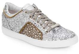 Alessandro Dell'Acqua Glitter Leather Lace-Up Sneakers