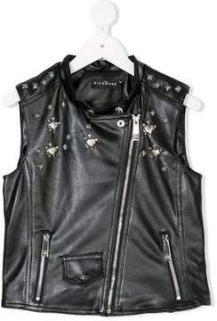 John Richmond Kids faux leather embellished waistcoat