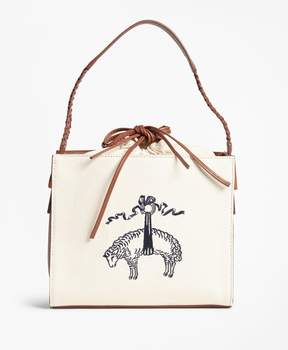 Brooks Brothers Golden Fleece-Embroidered Canvas and Leather Handbag