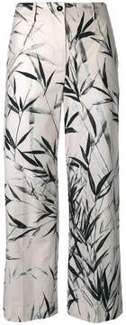 Blumarine leaves print cropped trousers