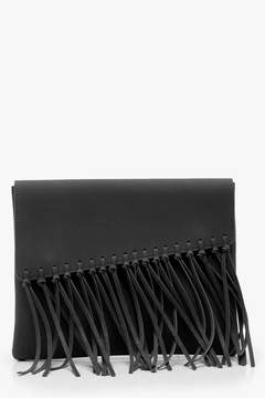 boohoo Knot Fringed Suedette Clutch