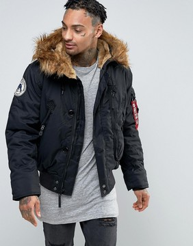 Alpha Industries Bomber Jacket With Faux Fur Trim In Regular Fit In Black