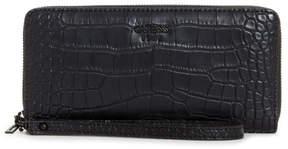 GUESS Keaton Black Croc-Embossed Zip-Around Wallet