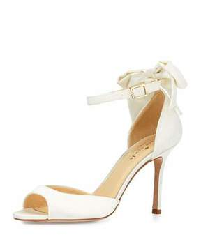Kate Spade Izzie Bow-Back Satin D'orsay Pump, Ivory