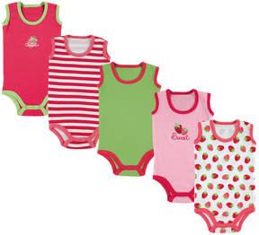 Luvable Friends Pink & Green Strawberry Bodysuit Set - Infant