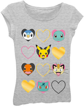 Asstd National Brand Pokemon Girls' Faces with Hearts Short Sleeve Graphic T-Shirt with Gold Foil