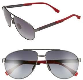 BOSS Men's 63Mm Aviator Sunglasses - Red Carbon/ Gray Gradient