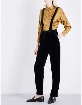 Claudie Pierlot Suspender-style velvet trousers