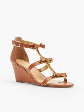 Talbots Royce Bow Wedge Sandals - Vachetta Leather