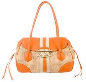 Prada Lizard-Trimmed Straw Bag