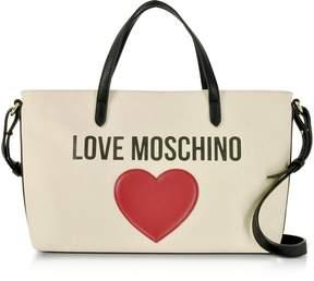 Love Moschino & Heart Cotton Tote Bag w/Strap